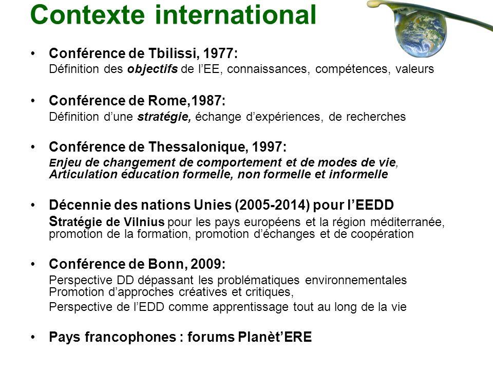 Contexte international Conférence de Tbilissi, 1977: Définition des objectifs de lEE, connaissances, compétences, valeurs Conférence de Rome,1987: Déf