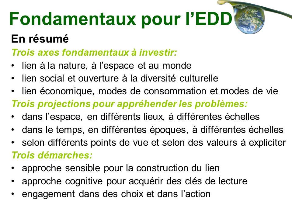 Fondamentaux pour lEDD En résumé Trois axes fondamentaux à investir: lien à la nature, à lespace et au monde lien social et ouverture à la diversité c