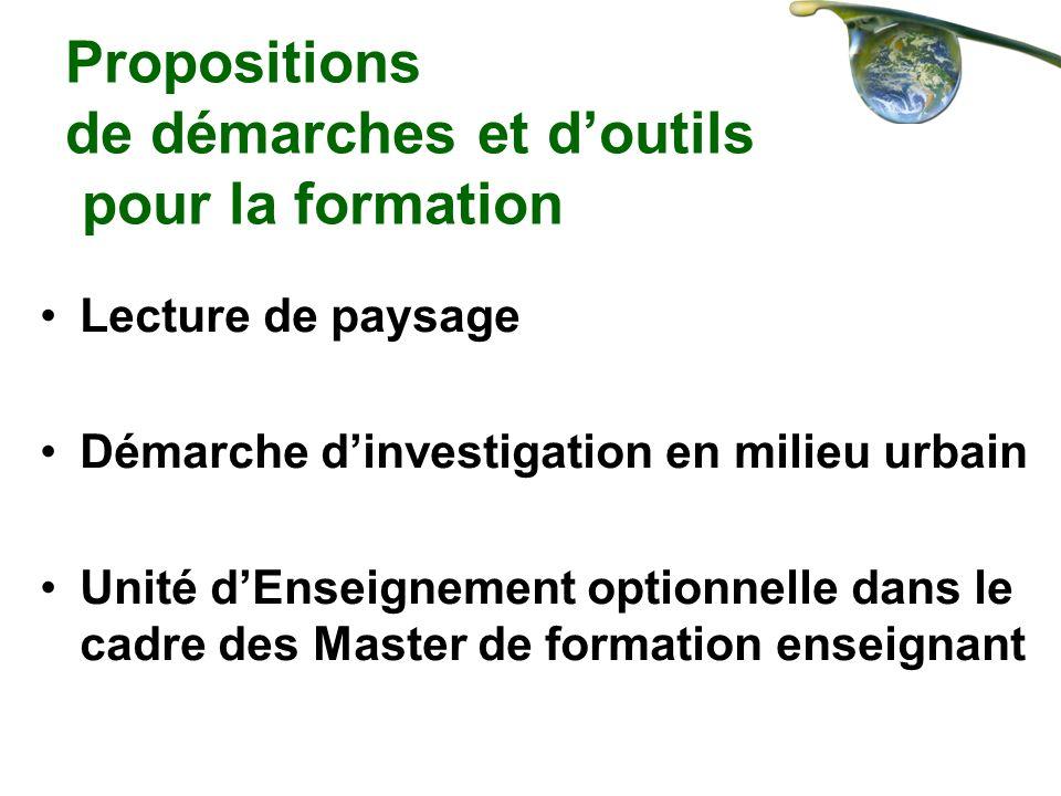 Propositions de démarches et doutils pour la formation Lecture de paysage Démarche dinvestigation en milieu urbain Unité dEnseignement optionnelle dan
