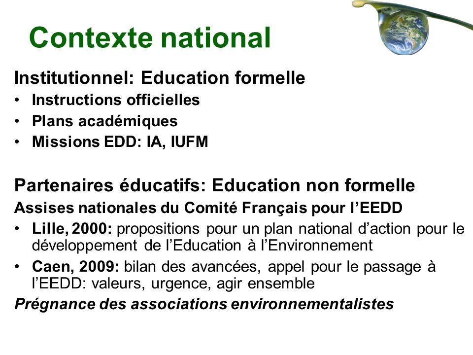 Contexte national Institutionnel: Education formelle Instructions officielles Plans académiques Missions EDD: IA, IUFM Partenaires éducatifs: Educatio