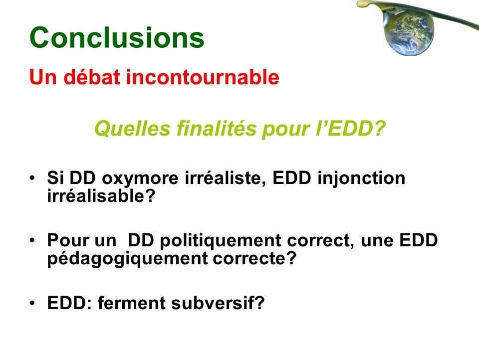 Conclusions Un débat incontournable Quelles finalités pour lEDD? Si DD oxymore irréaliste, EDD injonction irréalisable? Pour un DD politiquement corre