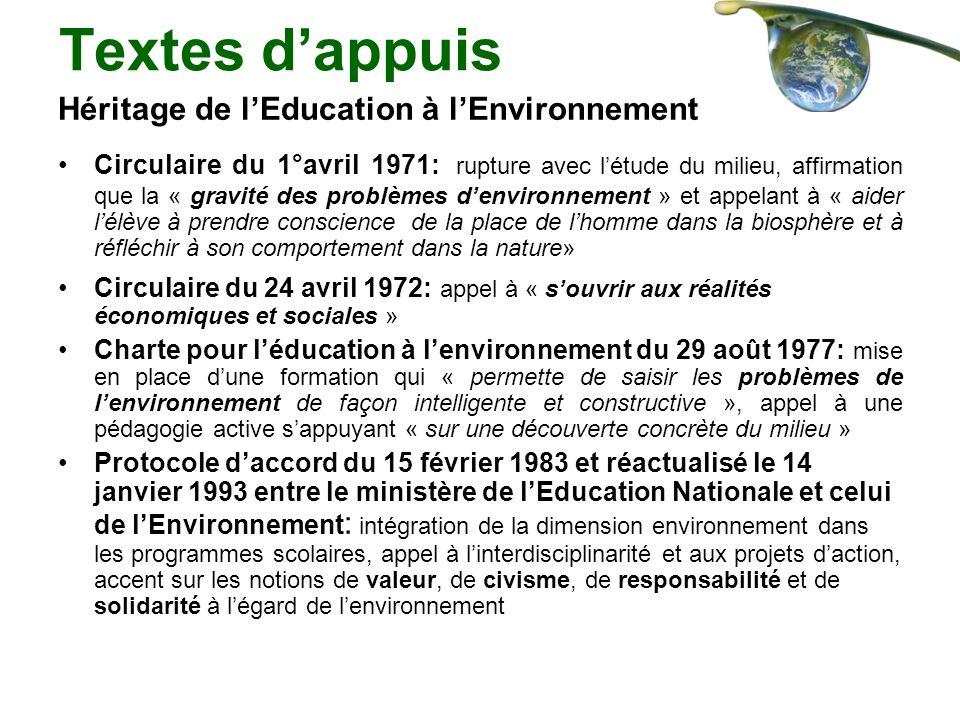 Textes dappuis Héritage de lEducation à lEnvironnement Circulaire du 1°avril 1971: rupture avec létude du milieu, affirmation que la « gravité des pro