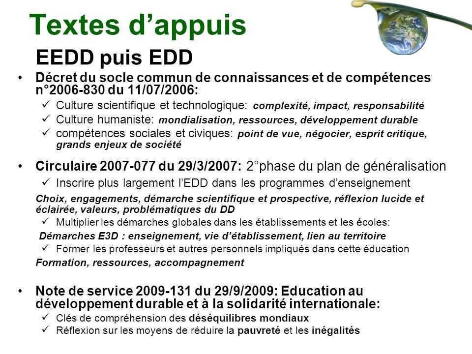 Textes dappuis EEDD puis EDD Décret du socle commun de connaissances et de compétences n°2006-830 du 11/07/2006: Culture scientifique et technologique