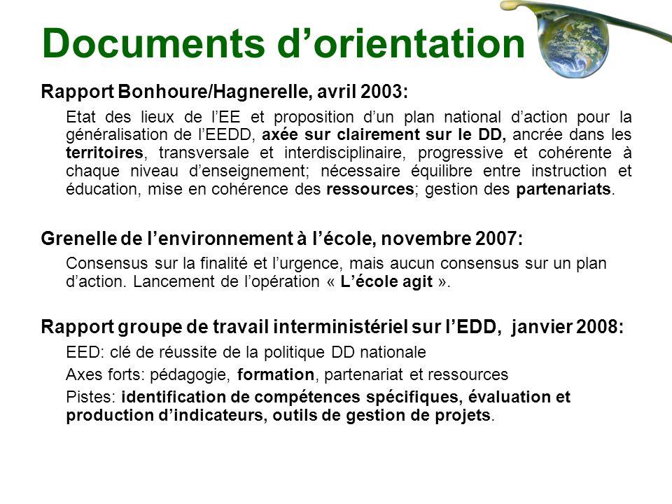 Documents dorientation Rapport Bonhoure/Hagnerelle, avril 2003: Etat des lieux de lEE et proposition dun plan national daction pour la généralisation
