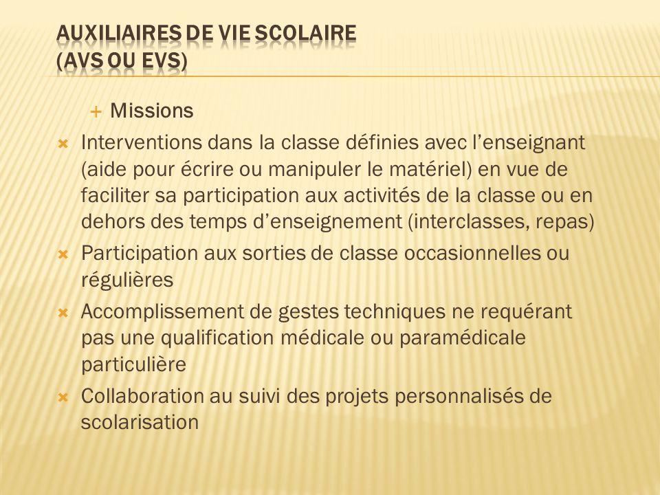 Missions Interventions dans la classe définies avec lenseignant (aide pour écrire ou manipuler le matériel) en vue de faciliter sa participation aux a