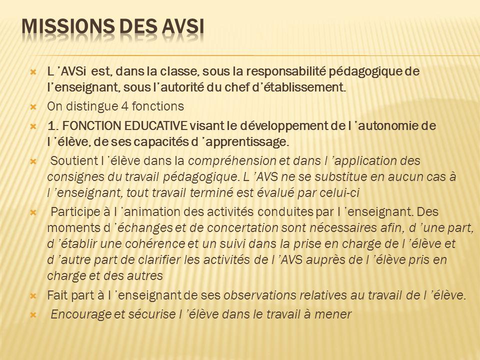 L AVSi est, dans la classe, sous la responsabilité pédagogique de lenseignant, sous lautorité du chef détablissement. On distingue 4 fonctions 1. FONC