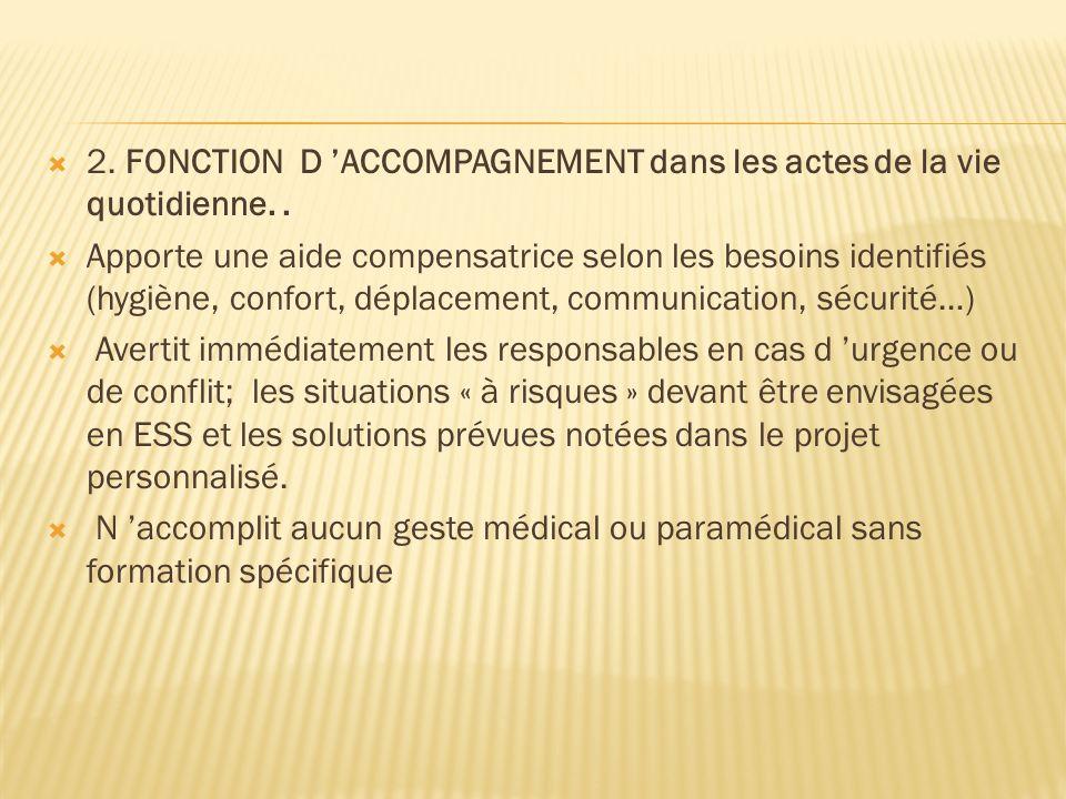 2. FONCTION D ACCOMPAGNEMENT dans les actes de la vie quotidienne.. Apporte une aide compensatrice selon les besoins identifiés (hygiène, confort, dép