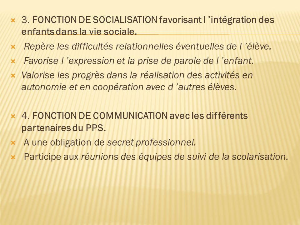 3. FONCTION DE SOCIALISATION favorisant l intégration des enfants dans la vie sociale. Repère les difficultés relationnelles éventuelles de l élève. F