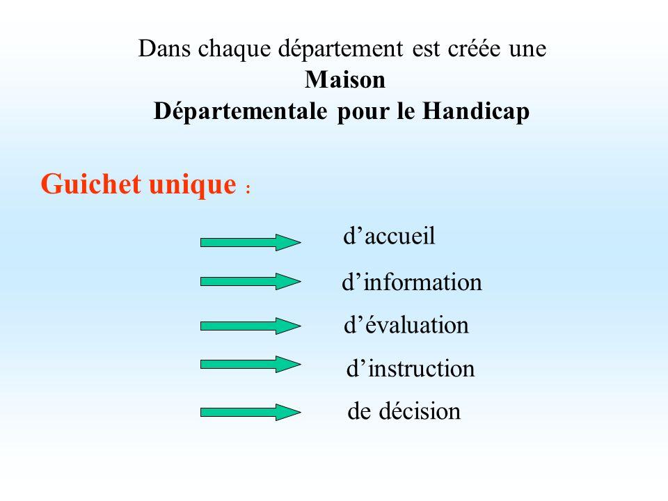 Dans chaque département est créée une Maison Départementale pour le Handicap Guichet unique : daccueil dévaluation dinstruction de décision dinformati