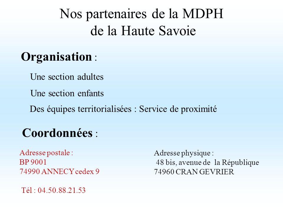 Nos partenaires de la MDPH de la Haute Savoie Adresse postale : BP 9001 74990 ANNECY cedex 9 Tél : 04.50.88.21.53 Adresse physique : 48 bis, avenue de