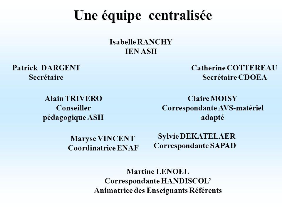 Une équipe centralisée Patrick DARGENT Secrétaire Alain TRIVERO Conseiller pédagogique ASH Catherine COTTEREAU Secrétaire CDOEA Claire MOISY Correspon