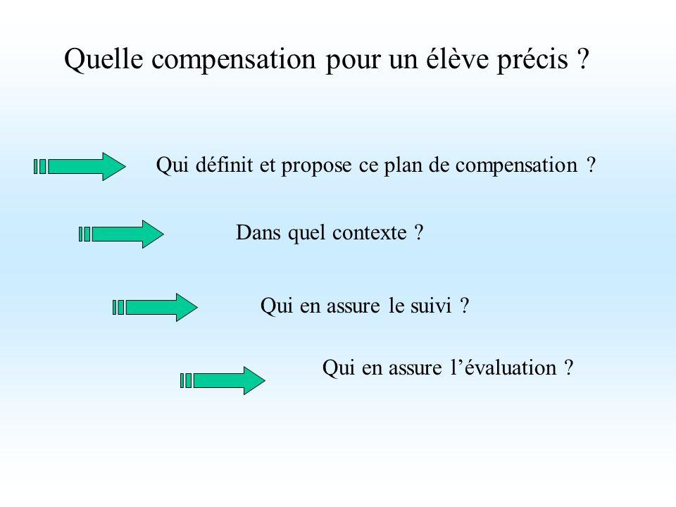 Quelle compensation pour un élève précis ? Qui définit et propose ce plan de compensation ? Dans quel contexte ? Qui en assure le suivi ? Qui en assur