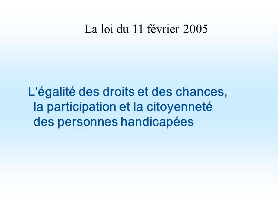 L'égalité des droits et des chances, la participation et la citoyenneté des personnes handicapées La loi du 11 février 2005