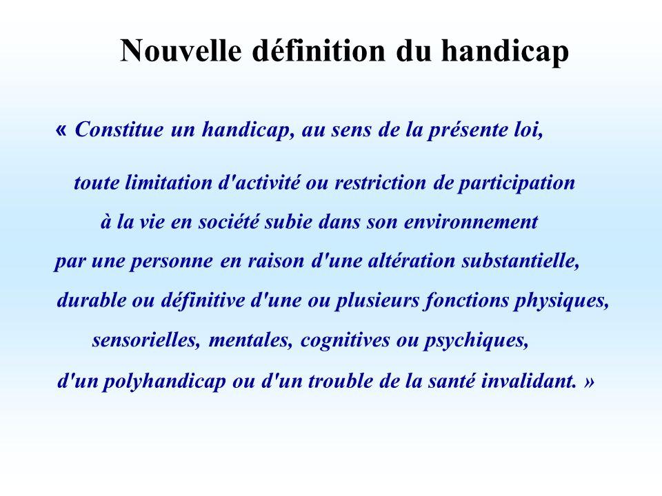 « Constitue un handicap, au sens de la présente loi, toute limitation d'activité ou restriction de participation à la vie en société subie dans son en