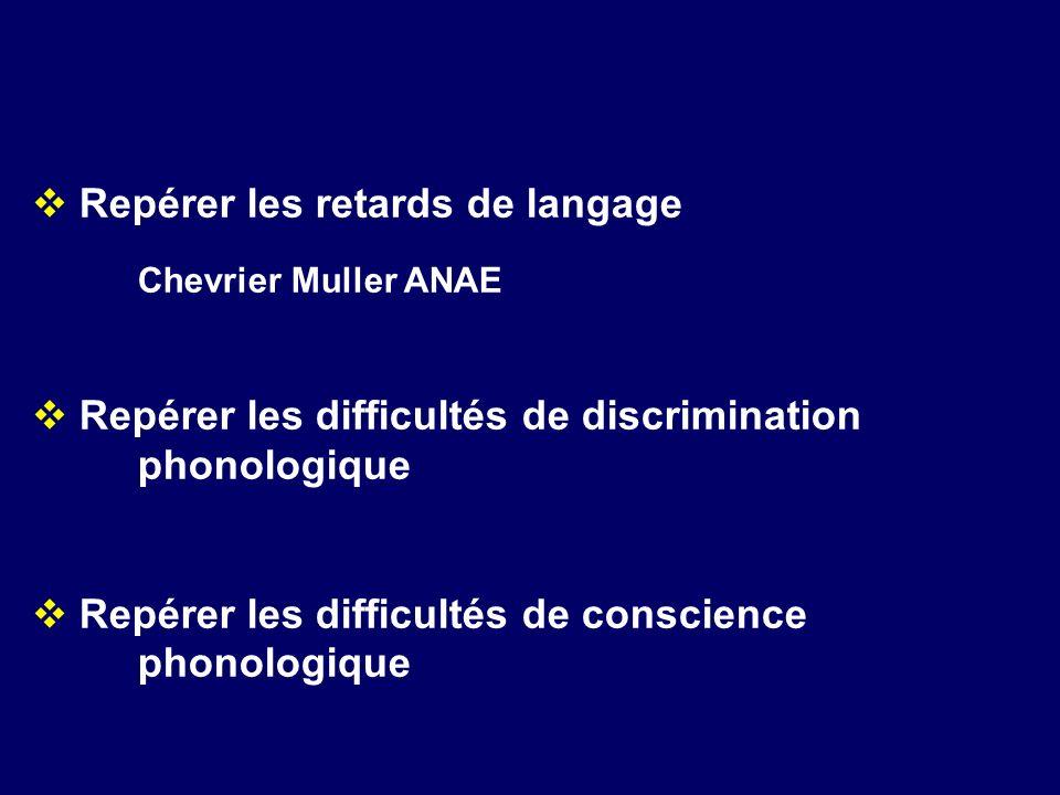Repérer les retards de langage Chevrier Muller ANAE Repérer les difficultés de discrimination phonologique Repérer les difficultés de conscience phono