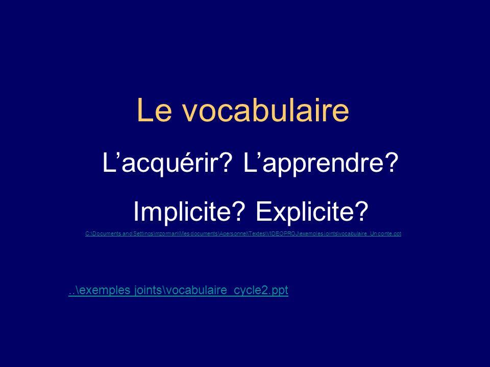 Le vocabulaire Lacquérir? Lapprendre? Implicite? Explicite? C:\Documents and Settings\mzorman\Mes documents\Apersonnel\Textes\VIDEOPROJ\exemples joint
