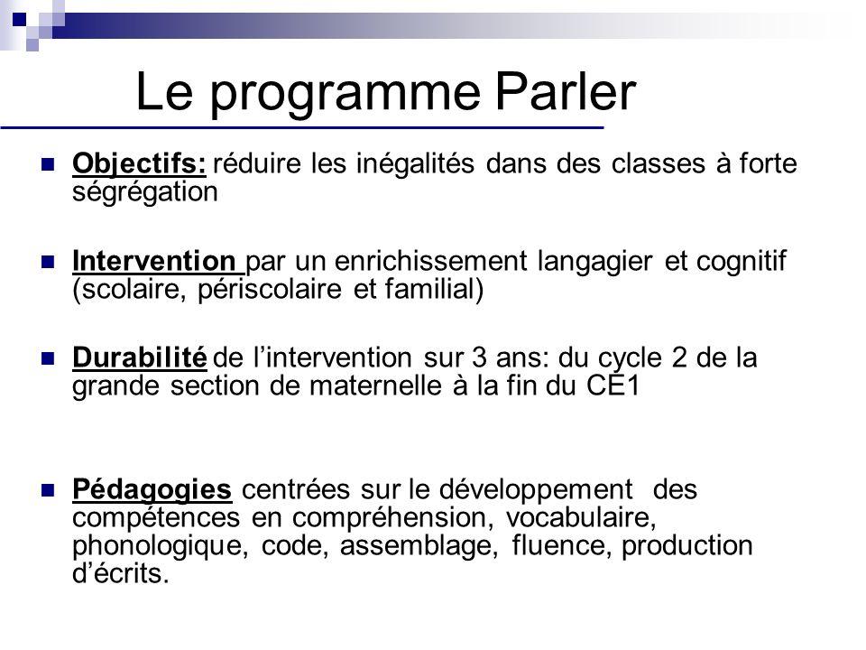 Le programme Parler Objectifs: réduire les inégalités dans des classes à forte ségrégation Intervention par un enrichissement langagier et cognitif (s