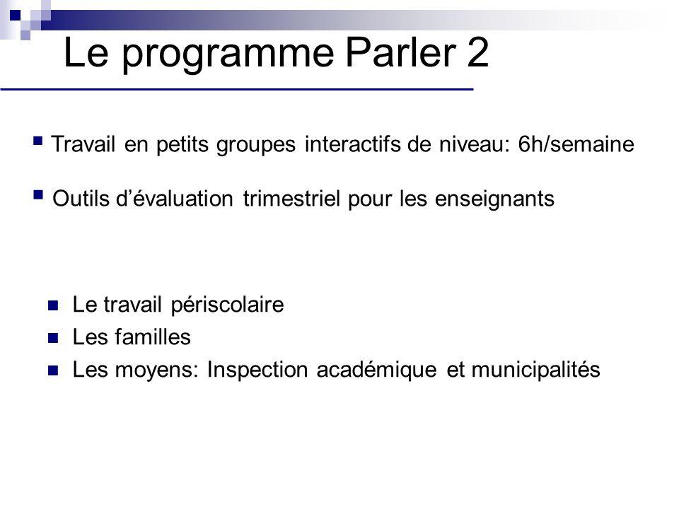 Le programme Parler 2 Le travail périscolaire Les familles Les moyens: Inspection académique et municipalités Travail en petits groupes interactifs de