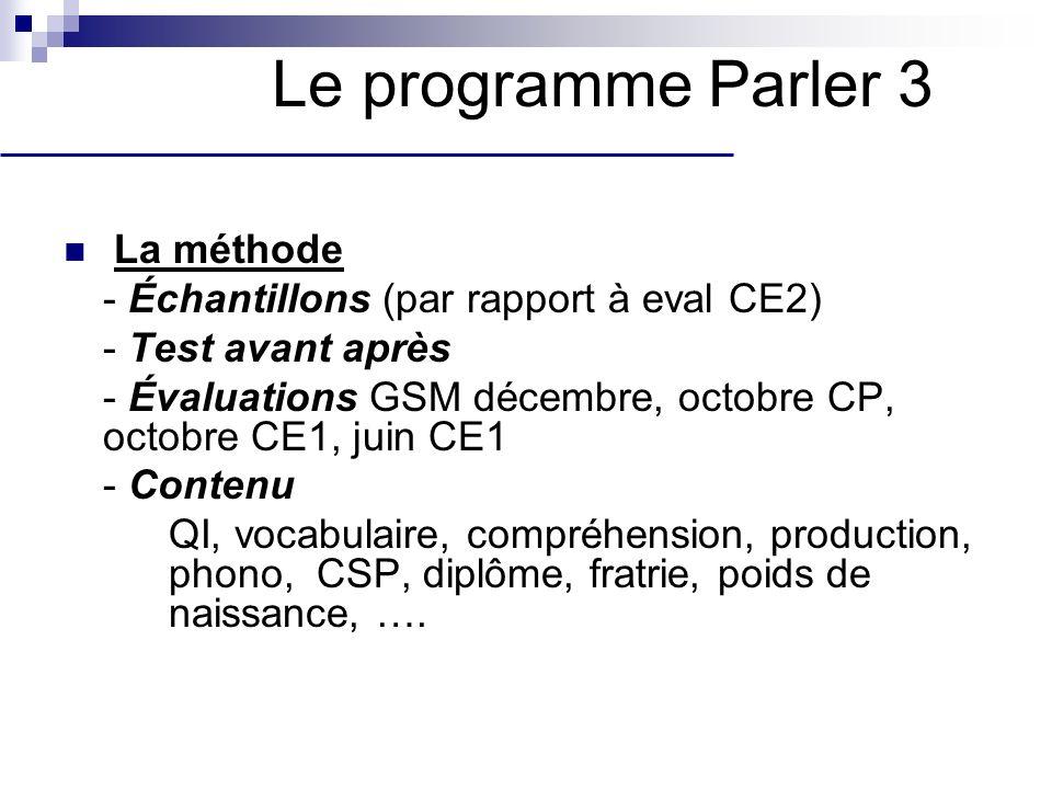 La méthode - Échantillons (par rapport à eval CE2) - Test avant après - Évaluations GSM décembre, octobre CP, octobre CE1, juin CE1 - Contenu QI, voca