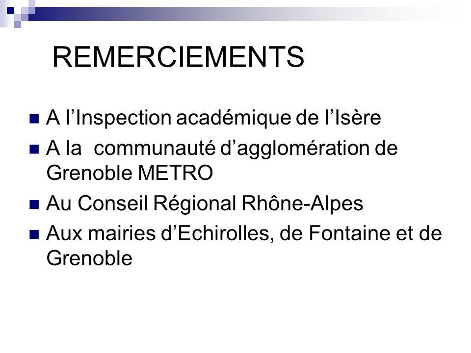 REMERCIEMENTS A lInspection académique de lIsère A la communauté dagglomération de Grenoble METRO Au Conseil Régional Rhône-Alpes Aux mairies dEchirol