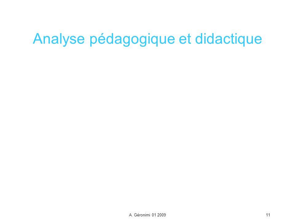 A. Géronimi 01 200911 Analyse pédagogique et didactique