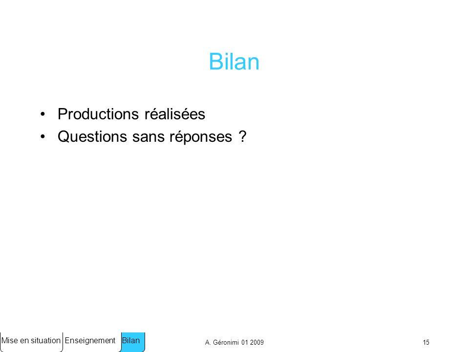 A.Géronimi 01 200915 Bilan Productions réalisées Questions sans réponses .