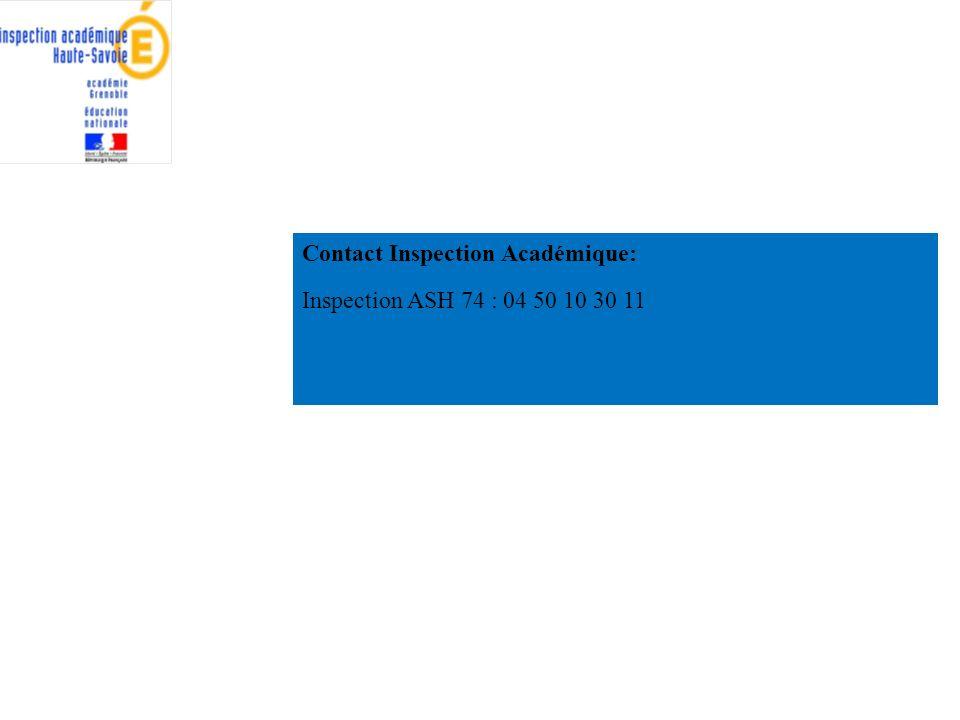 Contact Inspection Académique: Inspection ASH 74 : 04 50 10 30 11