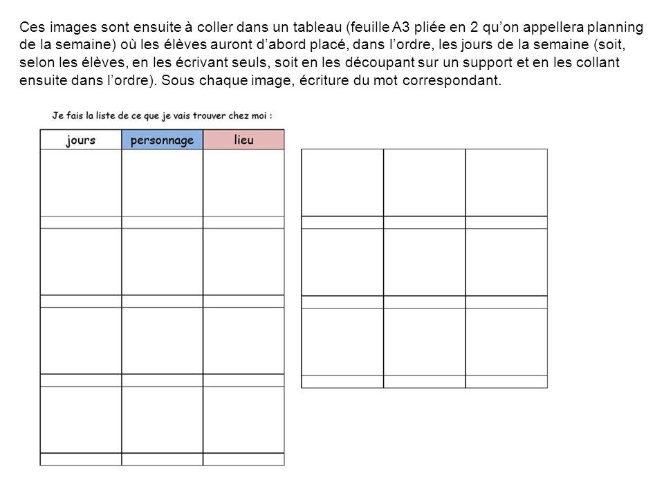Ces images sont ensuite à coller dans un tableau (feuille A3 pliée en 2 quon appellera planning de la semaine) où les élèves auront dabord placé, dans lordre, les jours de la semaine (soit, selon les élèves, en les écrivant seuls, soit en les découpant sur un support et en les collant ensuite dans lordre).