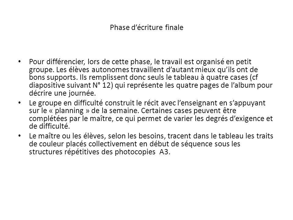 Phase décriture finale Pour différencier, lors de cette phase, le travail est organisé en petit groupe.