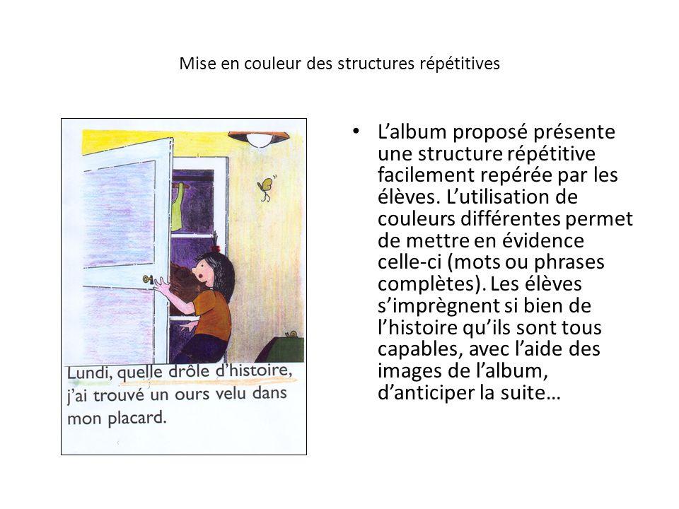 Mise en couleur des structures répétitives Lalbum proposé présente une structure répétitive facilement repérée par les élèves. Lutilisation de couleur