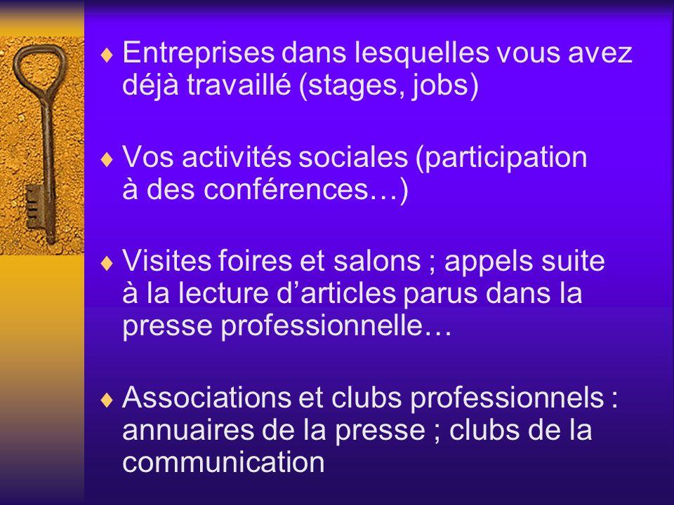 Entreprises dans lesquelles vous avez déjà travaillé (stages, jobs) Vos activités sociales (participation à des conférences…) Visites foires et salons