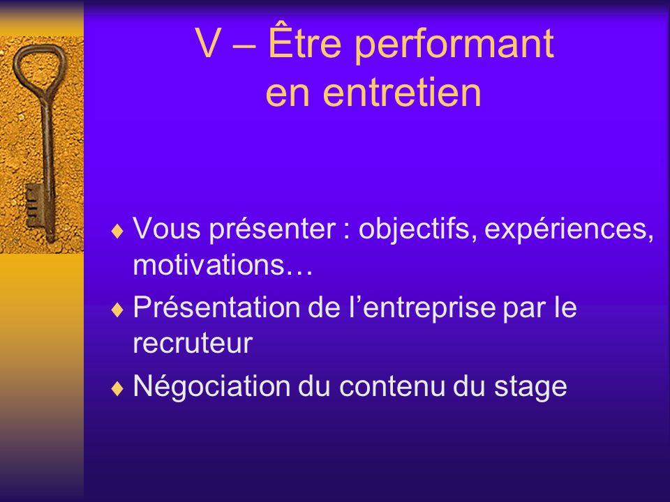 V – Être performant en entretien Vous présenter : objectifs, expériences, motivations… Présentation de lentreprise par le recruteur Négociation du contenu du stage