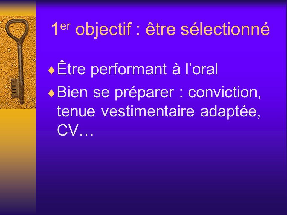 1 er objectif : être sélectionné Être performant à loral Bien se préparer : conviction, tenue vestimentaire adaptée, CV…