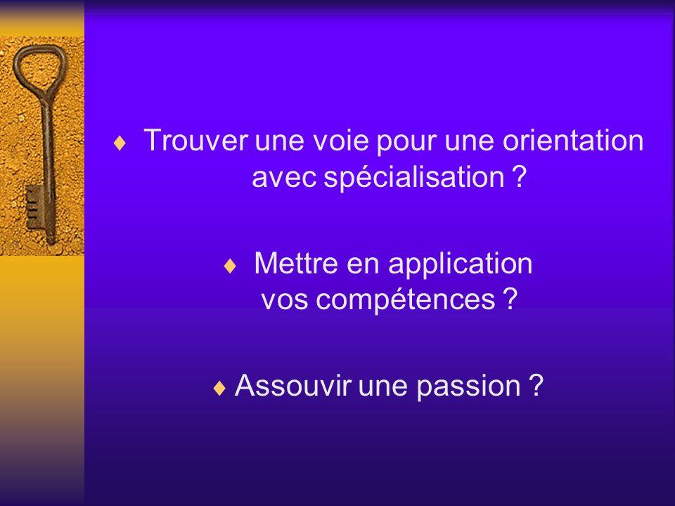 Trouver une voie pour une orientation avec spécialisation ? Mettre en application vos compétences ? Assouvir une passion ?