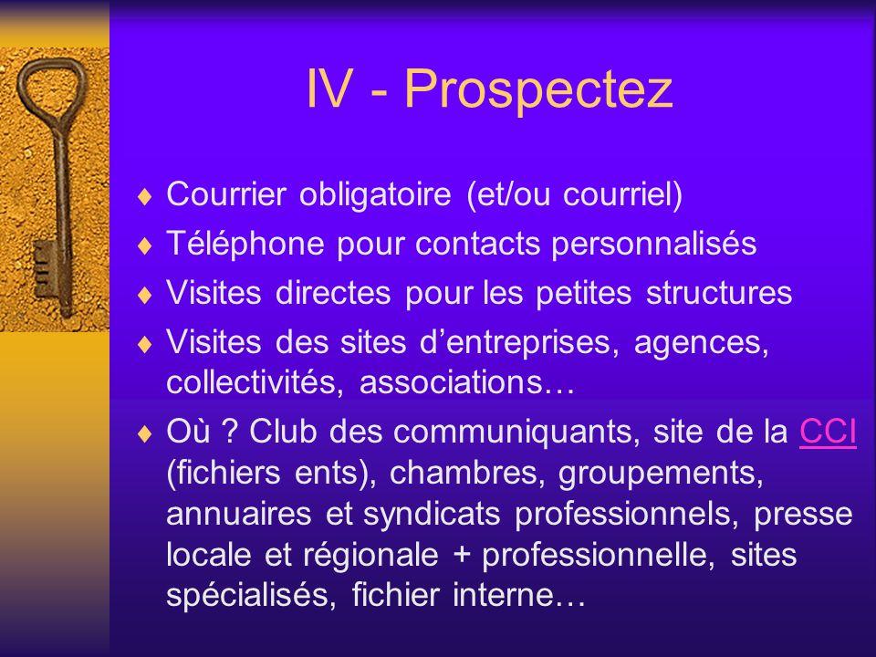 IV - Prospectez Courrier obligatoire (et/ou courriel) Téléphone pour contacts personnalisés Visites directes pour les petites structures Visites des sites dentreprises, agences, collectivités, associations… Où .