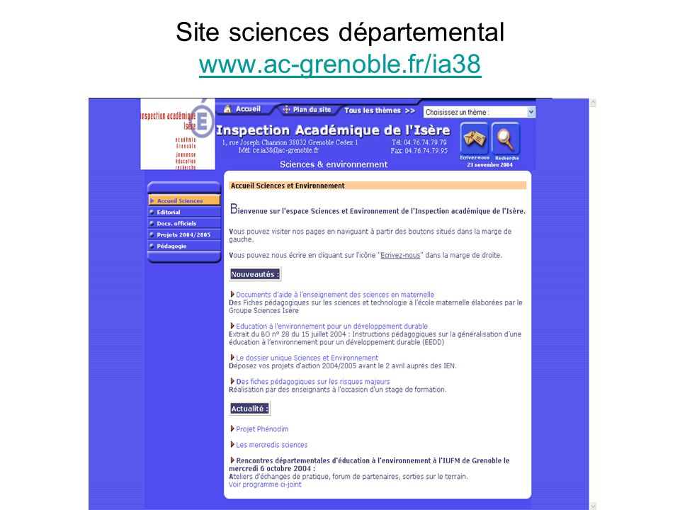 Site sciences départemental www.ac-grenoble.fr/ia38 www.ac-grenoble.fr/ia38