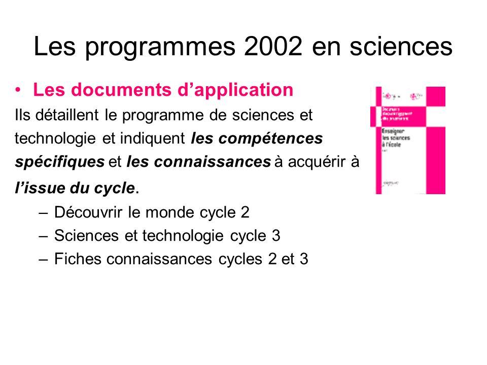 Les documents daccompagnement Ils comportent des séquences toutes prêtes à mettre en œuvre dans la classe: –Enseigner les sciences à lécole cycles 1et 2 Leau à lécole maternelle – cycle 1 Lair est-il une matière.