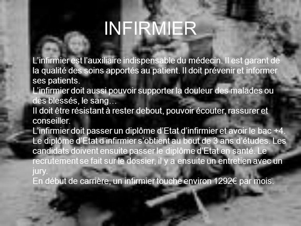 INFIRMIER Linfirmier est lauxiliaire indispensable du médecin. Il est garant de la qualité des soins apportés au patient. Il doit prévenir et informer