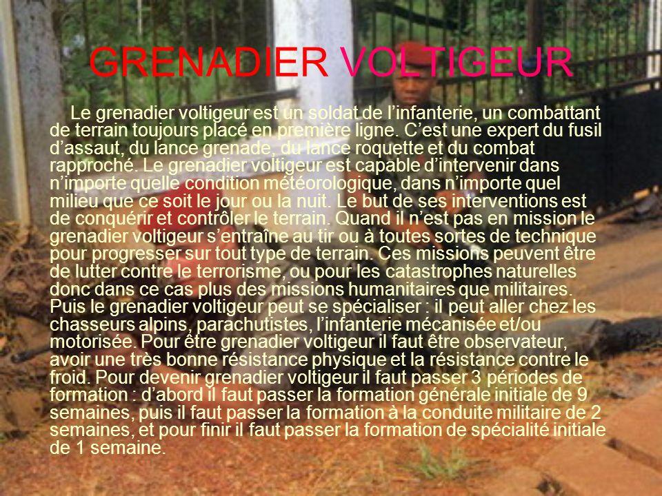 GRENADIER VOLTIGEUR Le grenadier voltigeur est un soldat de linfanterie, un combattant de terrain toujours placé en première ligne. Cest une expert du