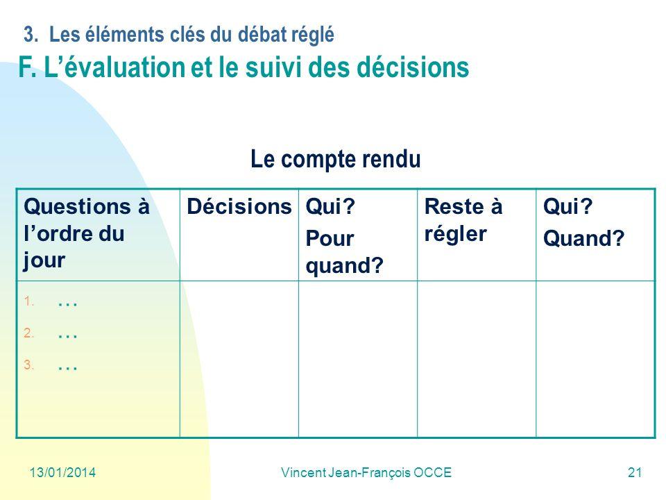 13/01/2014Vincent Jean-François OCCE21 Questions à lordre du jour DécisionsQui? Pour quand? Reste à régler Qui? Quand? 1. … 2. … 3. … 3. Les éléments