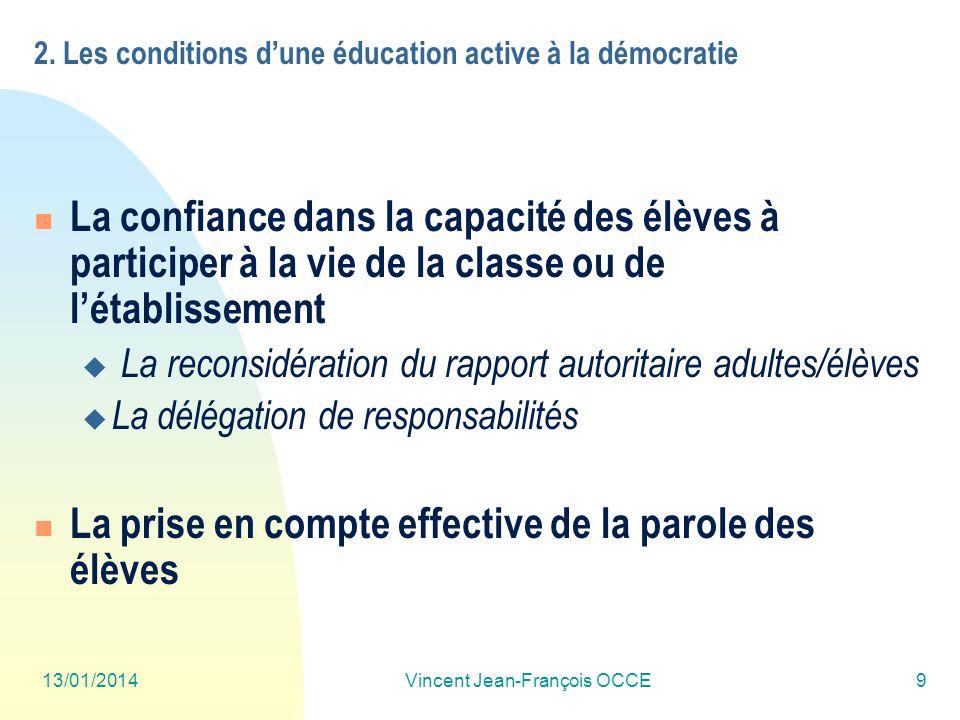 13/01/2014Vincent Jean-François OCCE9 2. Les conditions dune éducation active à la démocratie La confiance dans la capacité des élèves à participer à
