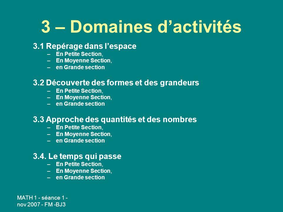 MATH 1 - séance 1 - nov 2007 - FM -BJ3 3 – Domaines dactivités 3.1 Repérage dans lespace –En Petite Section, –En Moyenne Section, –en Grande section 3