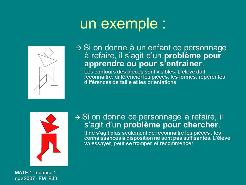 MATH 1 - séance 1 - nov 2007 - FM -BJ3 un exemple : Si on donne à un enfant ce personnage à refaire, il sagit dun problème pour apprendre ou pour sentrainer.