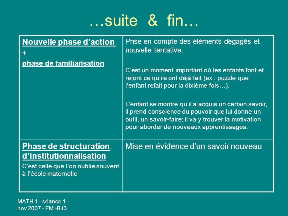 MATH 1 - séance 1 - nov 2007 - FM -BJ3 …suite & fin… Nouvelle phase daction + phase de familiarisation Prise en compte des éléments dégagés et nouvelle tentative.
