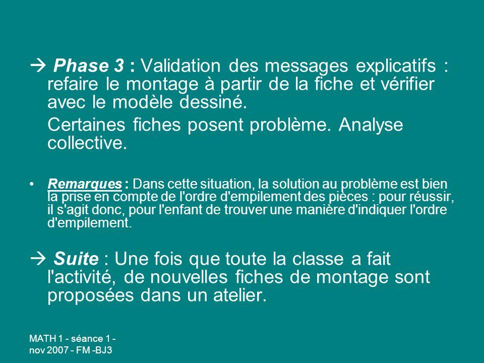 MATH 1 - séance 1 - nov 2007 - FM -BJ3 Phase 3 : Validation des messages explicatifs : refaire le montage à partir de la fiche et vérifier avec le modèle dessiné.