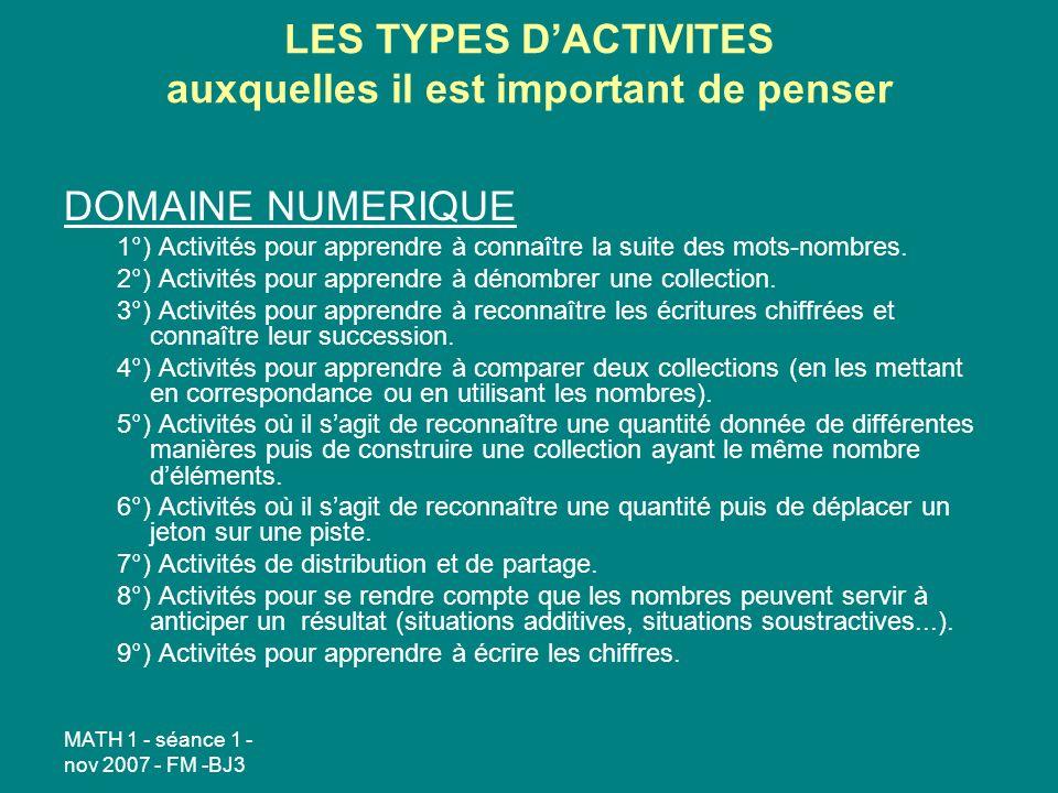 MATH 1 - séance 1 - nov 2007 - FM -BJ3 LES TYPES DACTIVITES auxquelles il est important de penser DOMAINE NUMERIQUE 1°) Activités pour apprendre à connaître la suite des mots-nombres.