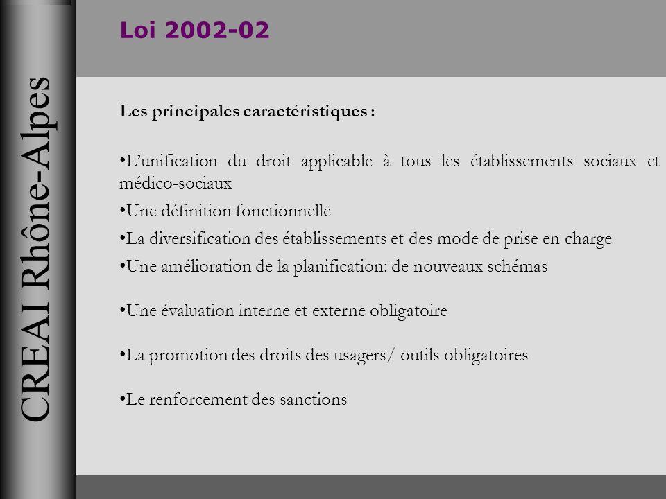 CREAI Rhône-Alpes Loi 2002-02 Les principales caractéristiques : Lunification du droit applicable à tous les établissements sociaux et médico-sociaux