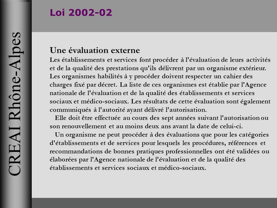 CREAI Rhône-Alpes Loi 2002-02 Une évaluation externe Les établissements et services font procéder à l'évaluation de leurs activités et de la qualité d