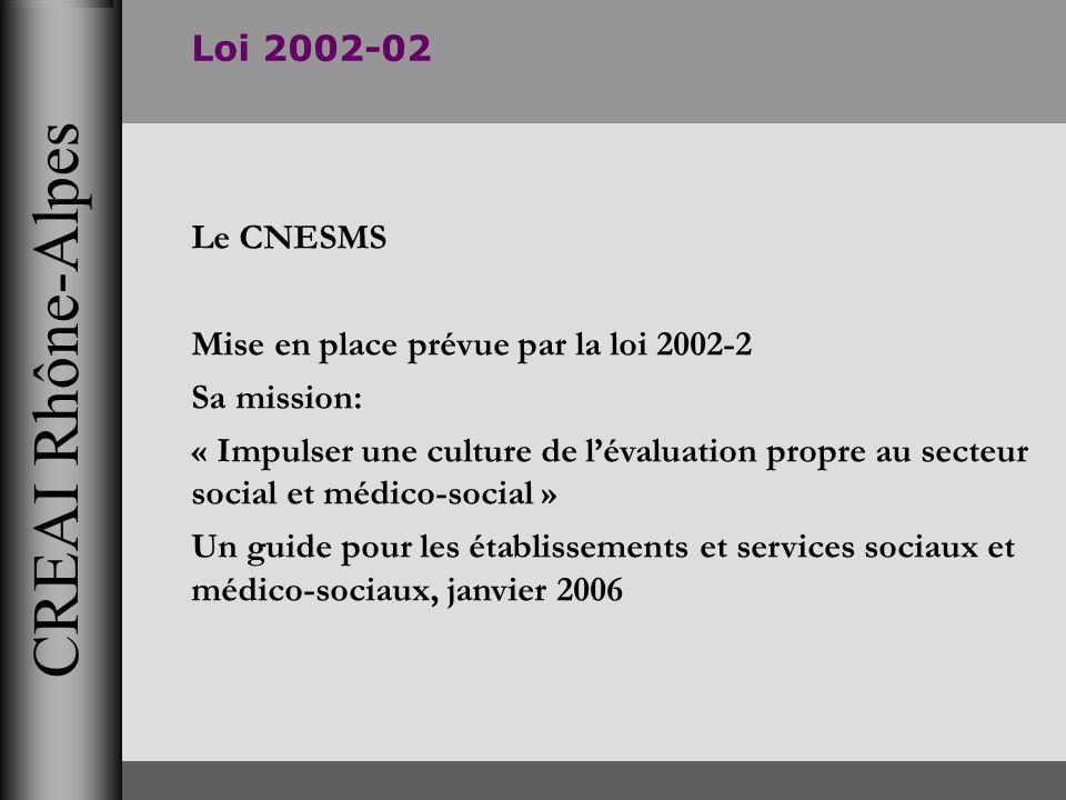 CREAI Rhône-Alpes Loi 2002-02 Le CNESMS Mise en place prévue par la loi 2002-2 Sa mission: « Impulser une culture de lévaluation propre au secteur soc