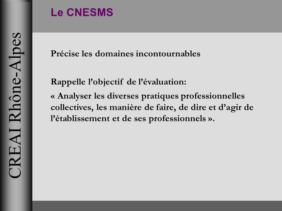CREAI Rhône-Alpes Le CNESMS Précise les domaines incontournables Rappelle lobjectif de lévaluation: « Analyser les diverses pratiques professionnelles